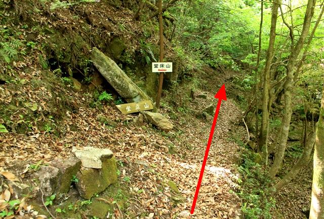 堂床山と石采の滝へ向かう分岐