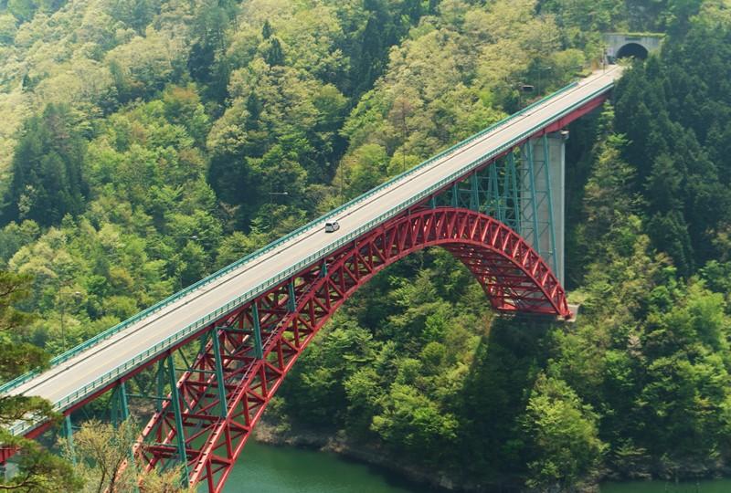 猪山展望台から瀧山峡大橋を望む