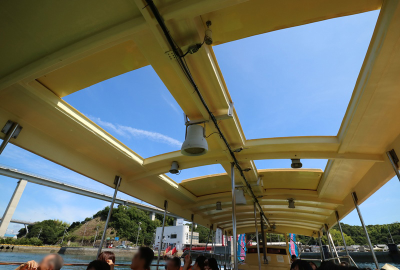 来島海峡急流観潮船の天井が開いた