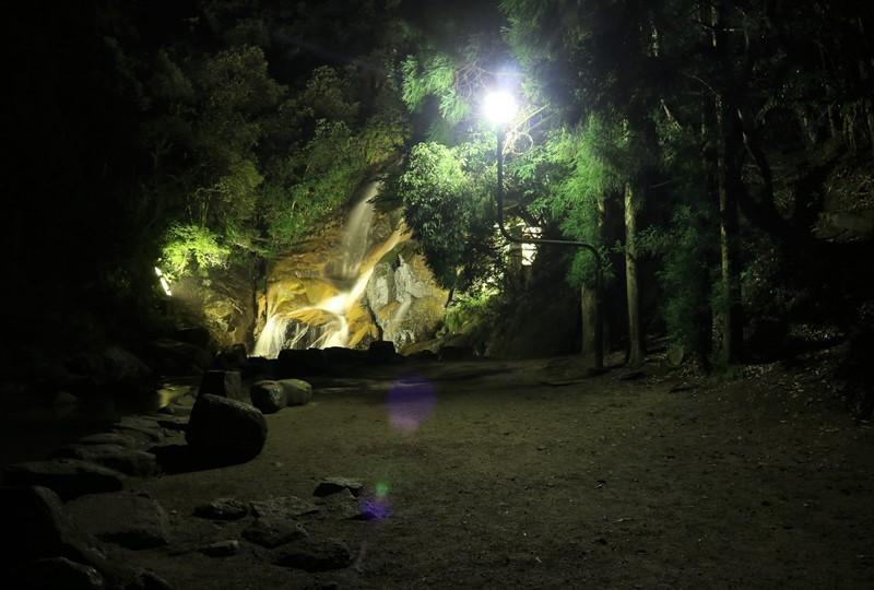 妹背の滝、ライトアップ時の広場