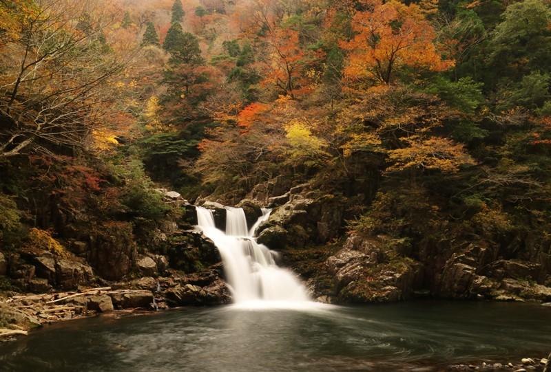 三段峡、三段滝の紅葉