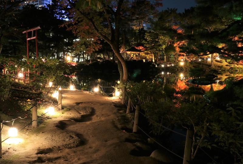 縮景園の紅葉、祺福山(きふくざん)付近
