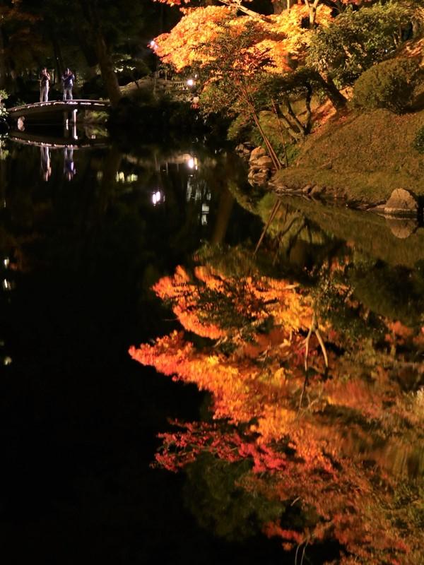 縮景園の紅葉、夕照庵付近からの眺め