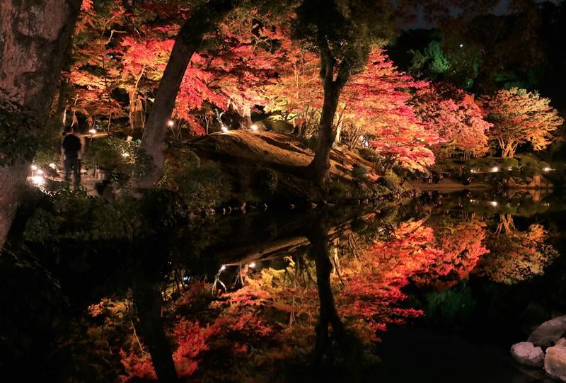 縮景園の紅葉、超然居付近からの眺め