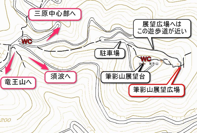 筆影山、山頂付近のマップ