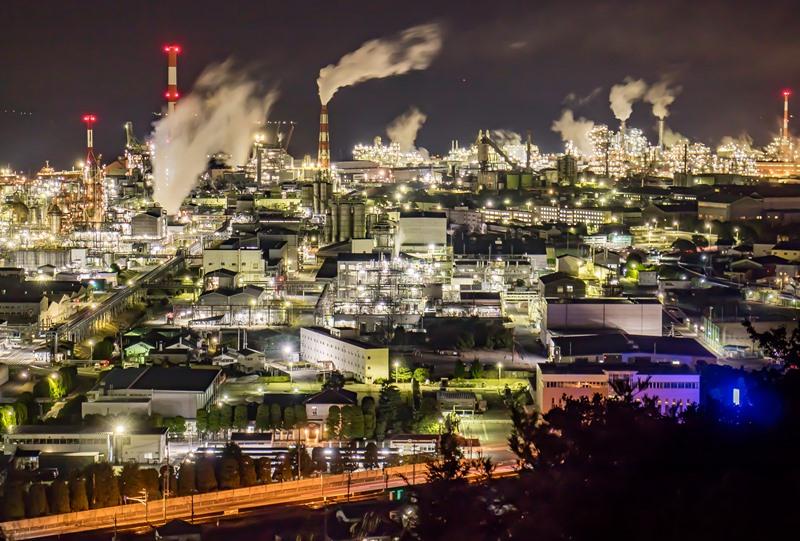 大竹の工場夜景を高台から見下ろす