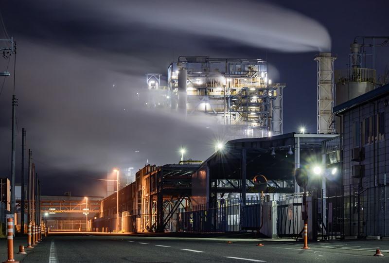 ダイセル大竹工場の夜景