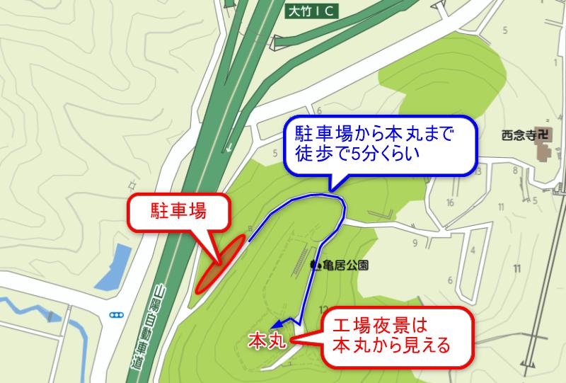 亀居公園の付近のマップ