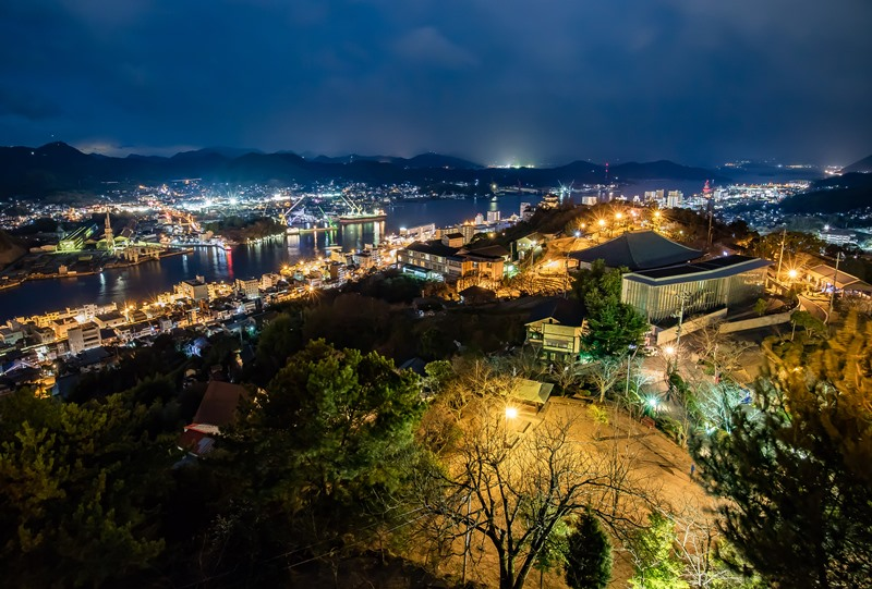 千光寺公園、頂上展望台からの尾道水道の夜景