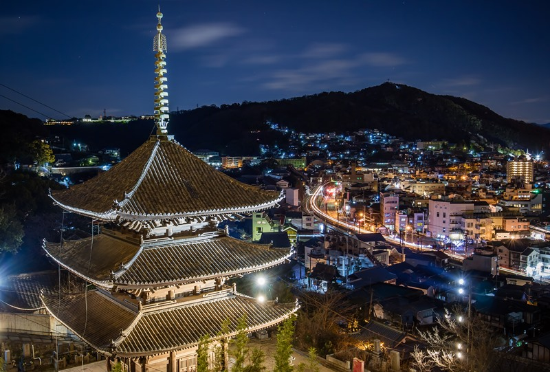 天寧寺三重塔と浄土寺山の夜景