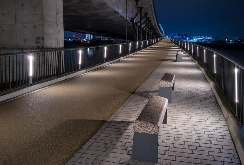 太田川大橋、遊歩道から見た夜景