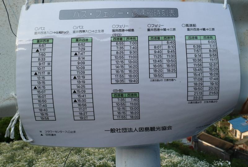 馬神除虫菊畑にあったバス、フェリー、高速船の時刻表