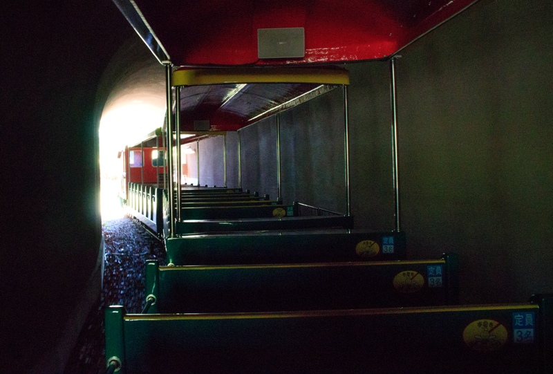 蜂ヶ峯総合公園、ミニSLがトンネルを通る