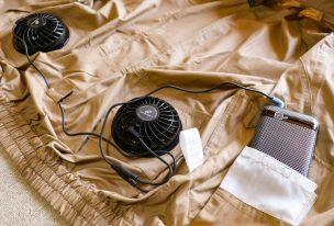 空調服に送風ファンを取付た状態