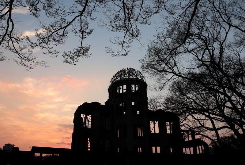広島平和公園の桜開花情報2019(夕日)