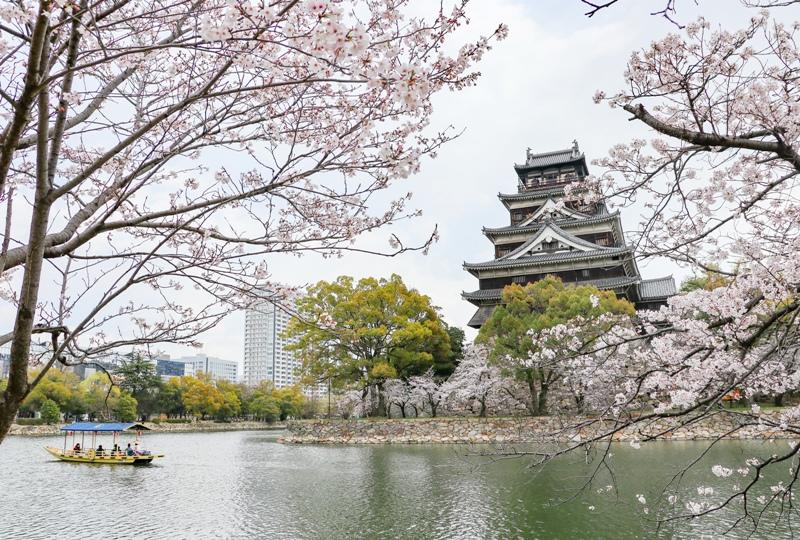 広島城、桜と遊覧船