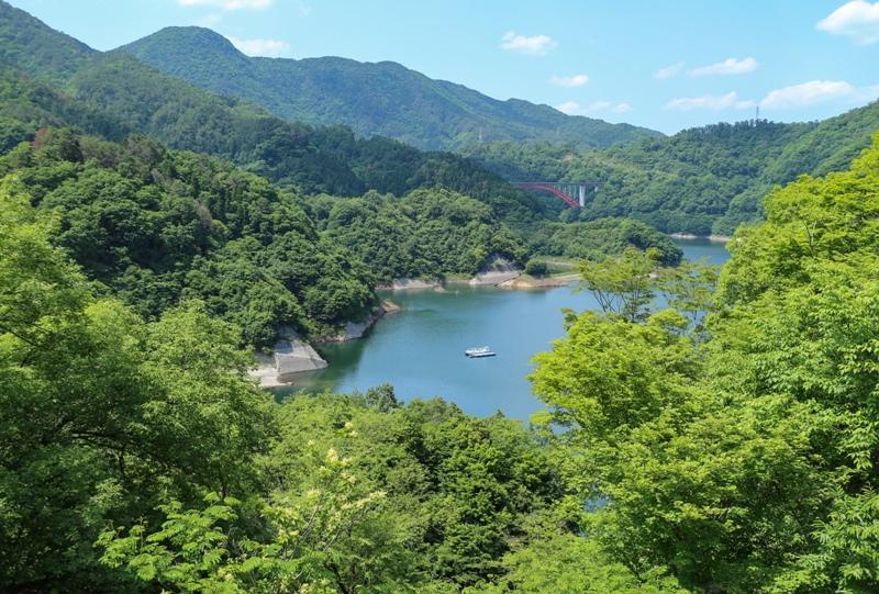 温井ダム、自然生態公園の展望台から瀧山峡大橋も見えた
