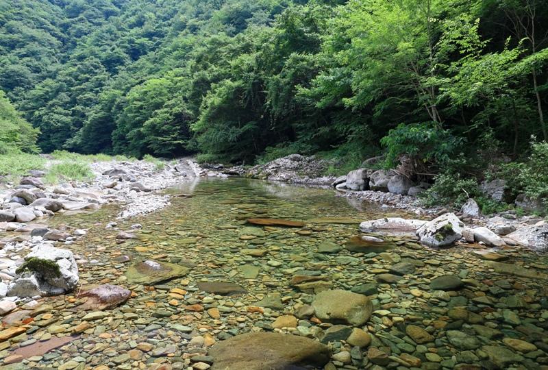 表匹見峡、匹見川に降りれる場所